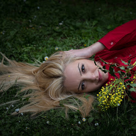 ... by Bistra Stoimenova - People Portraits of Women ( blonde, grass, woman, red dress, flower, portrait )