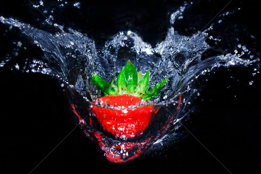 Splash! by Terence Lim - Food & Drink Fruits & Vegetables ( cool, water, flash, fruit, healthful, splash, vibrant, health, strawberry, bounce, red, fresh, vibrance, healthy, fruity )
