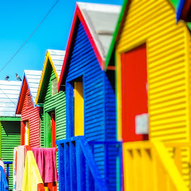 Beach Huts by Del Angharad - Buildings & Architecture Other Exteriors ( holiday, vacation, colourful, huts, beach, rainbow )