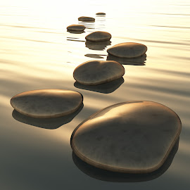 step stones by Markus Gann - Illustration Flowers & Nature ( stone, rock, travel, nature, power, perspective, light, black, shiny, signs, white, steps, japanese, row, solid, liquid, outdoors, scene, bridge, straight, golden, calm, pebble, reflection, smooth, way, line, landscape, clear, risk, tranquil, buddhism, clean, harmony, grey, gold, abstract, water, ideas, sea, traditional, relaxation, sunset, background, zen, summer, bow, stones, success, energy )