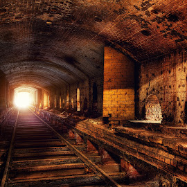 Light at the end of tunnel  by Roland Shanidze - Transportation Trains ( hdr, canada, roland shainidze, toronto, don valley brickworks, perspective, ontario, lines, light )