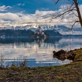 Sky by Bojan Bilas - Landscapes Travel ( sky, slovenia, color, reflection, nature, bled, fine art, scenic, idylic, beautiful, lakeside, blue, waterscape, travel, europe, lake, landscape, architecture )