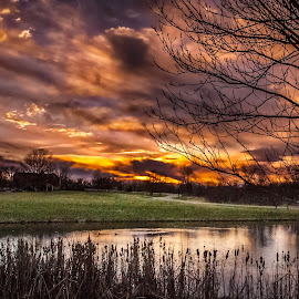 Dramatic Sunset Over Parky's Pond by Pat Lasley - Landscapes Sunsets & Sunrises ( clouds, sky, sunset, golden hpoiur, pond )