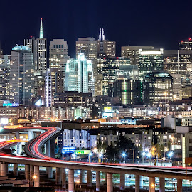 Nightscape of San Francisco  by Mark Chandler - Buildings & Architecture Architectural Detail ( i-280, long exposure, bay area, san francisco, nightscape )