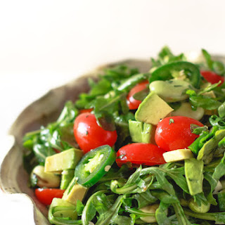 Arugula Salad with Avocados and Garlic Cilantro Vinaigrette