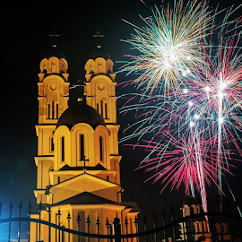 by Jovica Panić - Instagram & Mobile iPhone ( church, fireworks )