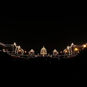 Raisina Hill  by Tridibesh Indu - Buildings & Architecture Public & Historical ( raisina_hill, rajpath, presidents_estate, south_block, nightscape, delhi, new_delhi, night photography, rashtrapati_bhavan, republic_day, north_block, long exposure, india,  )