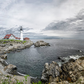 by Jean Claude Hebert - Landscapes Travel ( cape elizabeth, lighthouse )