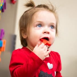 by Bonnie Filipkowski - Babies & Children Children Candids ( playing, 2018, girl, 15 months, library, nora, baby, inddoors, toddler )