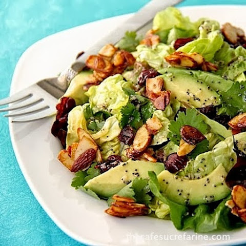 Cranberry-Avocado Salad with Candied Spiced Almonds and Sweet White Balsamic Vinaigrette