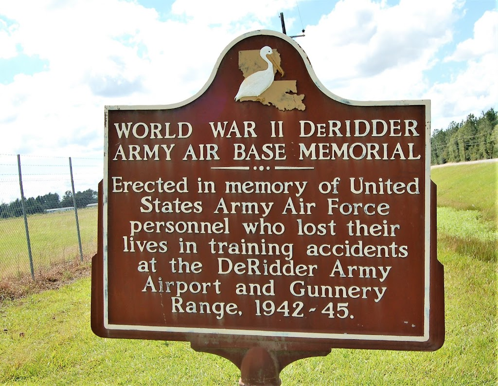 Erected in memory of United States Army Air Force personnel who lost their lives in training accidents at the DeRidder Army Airport and Gunnery Range, 1942-45.