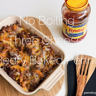 No Boiling Three Cheese Beefy Baked Penne