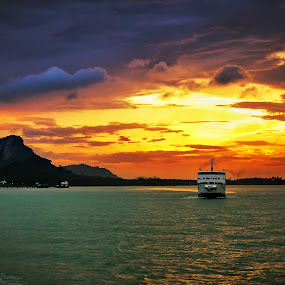 by Gregor Znidarsic - Landscapes Waterscapes ( ferry, colorful, colors, sunset, thailand, sea, seascape, boat )