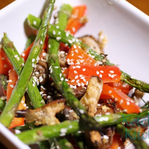 Roasted Asparagus, Red Bell Peppers and Shiitake Mushrooms w/ Garlic and Toasted Sesame Seeds