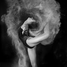 Powder by Andrew Ball - People Portraits of Women ( muscle, dancer movement strength monochrome )