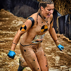Strong Lylu by Marco Bertamé - Sports & Fitness Other Sports ( water, differdange, splash, splatter, lylu, 2015, number, running, luxembourg, mud, strong, woman, dirty, 721, lady, strongmanrun,  )
