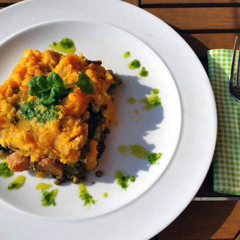 Puy Lentil And Coriander Pesto Bake With Sweet Potato Mash
