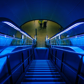 Blue Staiway by Henrik Callesen - Buildings & Architecture Architectural Detail ( canon, stair, stairway, blue, staircase, ef-s 17-55mm f/2.8, 50d )