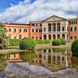 Casini di Ardenza , Homes in Livorno (Tuscany, Italy) by Gianluca Presto - Buildings & Architecture Homes ( clouds, water, home, old, houses, water reflection, reflection, building, architectural detail, house, architecture, city, liberty, ancient, sky, arches, buildings, cloudy, livorno, homes, garden, italy )