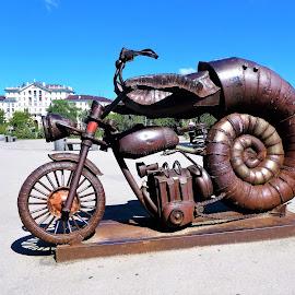 A creative motocycle  by Svetlana Saenkova - Artistic Objects Technology Objects ( blue sky, corrosive, perm, artistic, brown, metallic, summer,  )