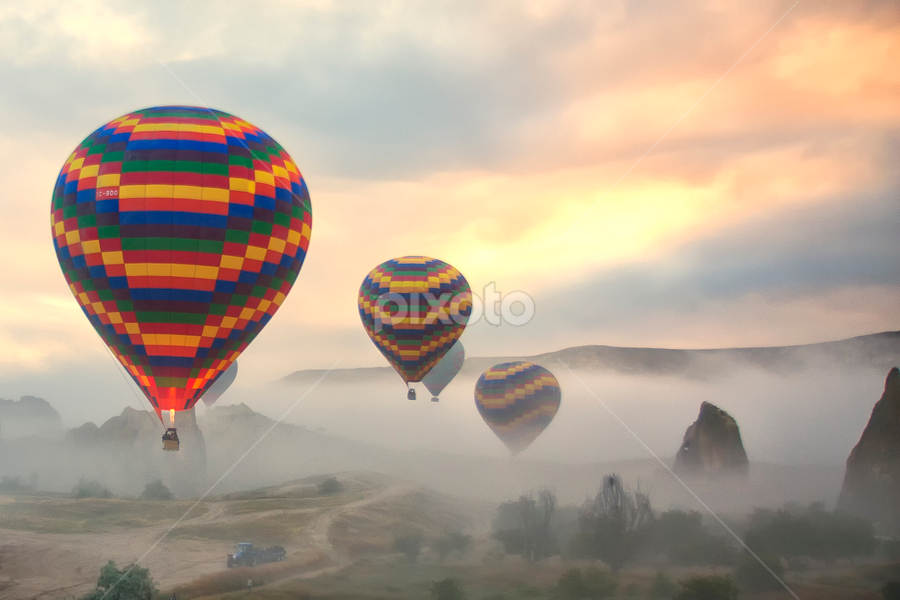 Flying over Cappadocia by Rafael Uy - Landscapes Travel ( flying, hot air balloon, turkey, cappadocia, air, transport )