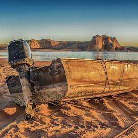 Abandoned Boat by Richard Michael Lingo - Transportation Boats ( lake powell, arizona, beach, transportation, boat )