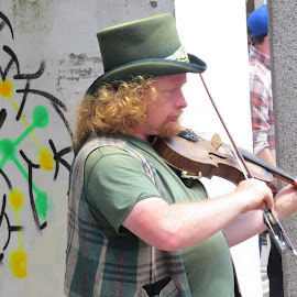 Busker in Bodmin by Angie Keverne - People Street & Candids ( music, violin, street, busker, man )