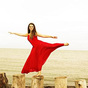 by Terri Mills - People Portraits of Women ( water, sky, red, girl, dress, beauty, lyrical, dance, dancer,  )