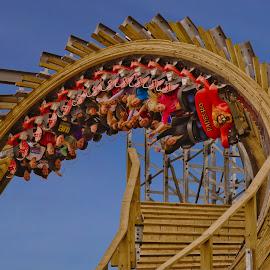 upside-down wooden coaster by Michael Graham - City,  Street & Park  Amusement Parks ( wooden roller coaster, wisconsin, amusement park, theme park, wisconsin dells, roller coaster, wooden coaster, hades, upside down,  )