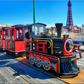 train on north pier by Nic Scott - Transportation Trains ( train, blackpool, north pier )