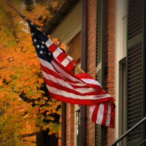 America in Cooperstown, NY by Jim Schlett - City,  Street & Park  Neighborhoods ( stairs, flag, america, autumn, fall, house, ny )