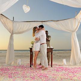 Beach Wedding by Andrew Morgan - Wedding Ceremony ( love, kiss, zanzibar, weddingday, wedding, destinationwedding, sea, beach, travel )