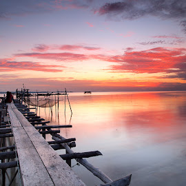 Sunset and Old Pier by Eko Mahendra - Landscapes Travel ( *indonesiaonly, *olympus, *sunset, *colourful, *bintanisland,  )