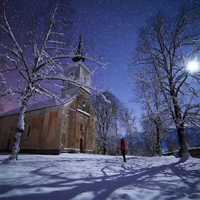 Snow fairytale by Ivan Stulic - Landscapes Weather ( moon, winter, church, stars, snow, lika, croatia, night, long exposure, moonlight )