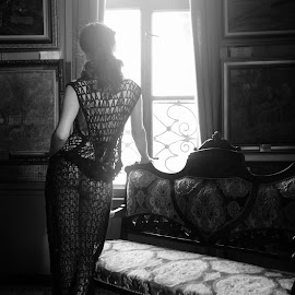 what a day by Velizar Ivanov - Nudes & Boudoir Boudoir ( haze, model, fashion, window, vintage, black and white, sooc, urban portrait, urban fashion, unique outfit )