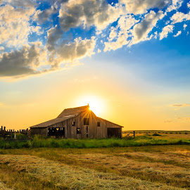 9 Mile Barn by Kendra Perry Koski - Buildings & Architecture Decaying & Abandoned ( meade county, wood, thunderstorm, grass, storm, landscape, gray sky, lightning, barn, blue, sunset, hay, summer, july, hay bale, bear butte, abandoned )