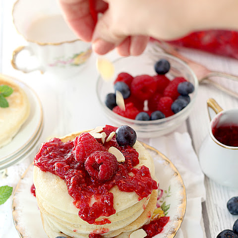 Easy Pancake Recipe with Raspberry Sauce