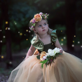 In the forrest by Carole Brown - Babies & Children Child Portraits ( floral headband, tulle town, blonde hair, blue eyes, fireflys )