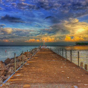 by Louis Perlia - Landscapes Sunsets & Sunrises ( clouds, water, lightsunset, hdr, color, art, artistic, reflections, trees, pier, sun )