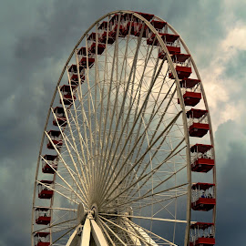 ferris wheel by Fraya Replinger - City,  Street & Park  Amusement Parks ( navy pier, red, amusement park, cloudy, ferris wheel )