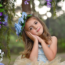 Sophia by Carole Brown - Babies & Children Child Portraits ( brown eyes, little girl, floral headband, floral swing, brown hair )