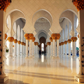 Columns by Jbern Eugenio - Buildings & Architecture Other Exteriors ( grand mosque, uae, columns, architectural, abu dhabi, architectural detail )
