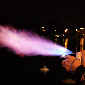 by Maya Farebrother - Abstract Fire & Fireworks ( reflection, spray, purple, swan, night, lighter, fire, flame )