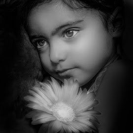 by Nathalie Gemy - Babies & Children Child Portraits ( girl child, child, beautifuleyes, black and white, child portraits, child photography, flower )