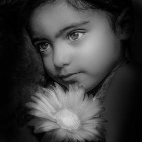 by Nathalie Gemy - Black & White Portraits & People ( girl child, child, beautifuleyes, black and white, child portraits, child photography, flower )