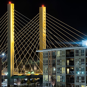 East 21st Street Bridge by Scott Wood - Buildings & Architecture Bridges & Suspended Structures ( washington, thea foss, building, sky, scene, tacoma, night, windows, bridge, scenic, light, 21st street )