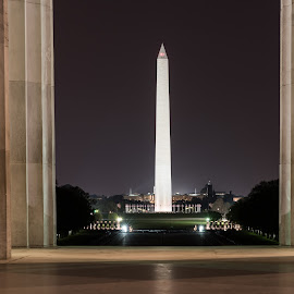 View from the Lincoln Memorial by Jim Sommers - Buildings & Architecture Statues & Monuments ( lincoln memorial, washington monument, monument, long exposure, washington dc )