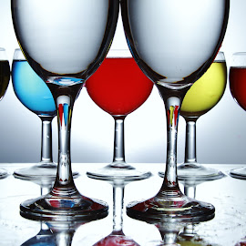 7 glasses by Peter Salmon - Artistic Objects Glass ( colour, seven, glasses, glass, focus )