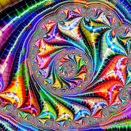 Turn, Turn, Turn by Peggi Wolfe - Illustration Abstract & Patterns ( abstract, turn, wolfepaw, gift, unique, bright, illustration, spiral, fun, digital, print, décor, pattern, color, unusual, fractal, rainbow )