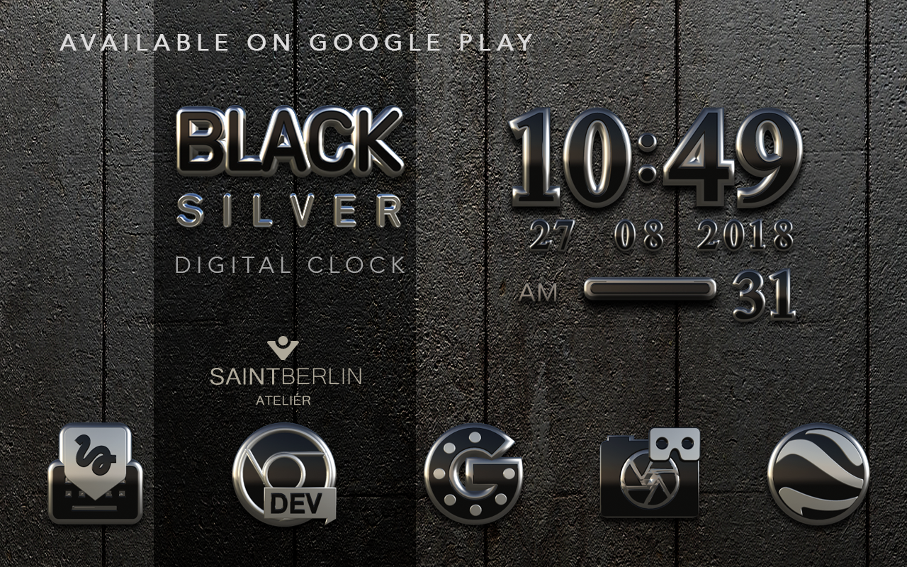Black Silver Clock Widget Screenshot 5